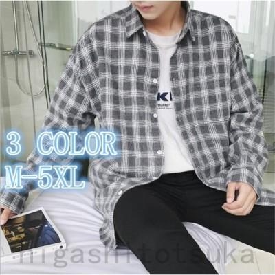 ネルシャツ メンズ ボタンダウン チェックシャツ 無地 ストライプ シャツ メンズ カジュアルシャツ (カットソー トップス) メンズ
