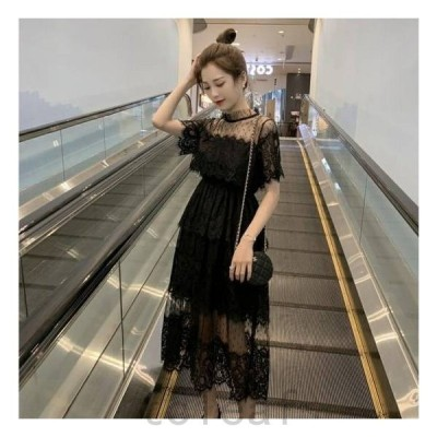 パーテイードレス袖ありミモレ丈ドレスワンピースきれいめワンピース黒ワンピースレースブラックドレス半袖フレアミモレ丈透け感韓国パーティ