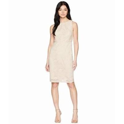 アドリアナパペル レディース ドレス Petite Vintage Stripe Lace Sheath Dress