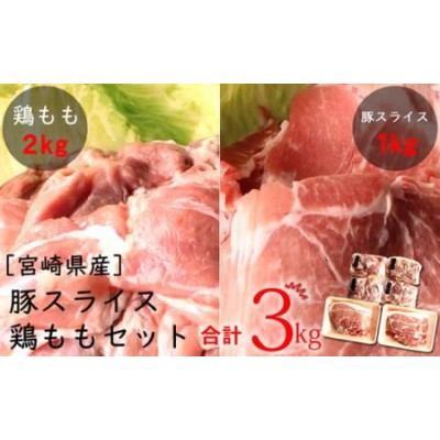 宮崎県産<豚スライス&鶏もも>3kgセット※90日以内に出荷【B388】