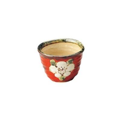 和食器上絵山茶花 陶碗(赤)/大きさ・9.8×7cm