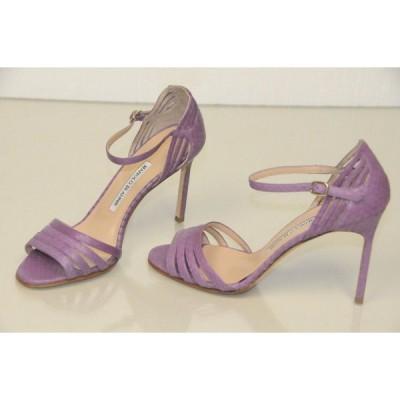 ハイヒール マノロブラニク Manolo Blahnik EXOTIC Snake VIOLET Purple Strappy Sandals Shoes 37 SEXY