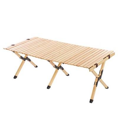最安値保証!! 【120cm】ウッドロールトップテーブル 天然木 キャンプテーブル アウトドアテーブル 折りたたみ キャンプ用品 簡単組立 コンパクト X脚 収納バッグ付