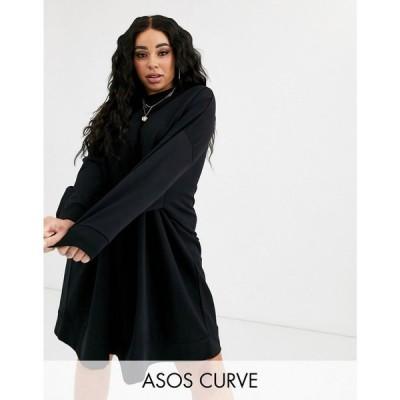 エイソス ASOS Curve レディース ワンピース ミニ丈 ワンピース・ドレス asos design curve oversize mini sweat dress ブラック