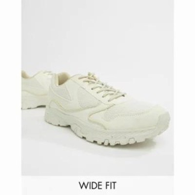 エイソス スニーカー Wide Fit trainers in off white with chunky sole White