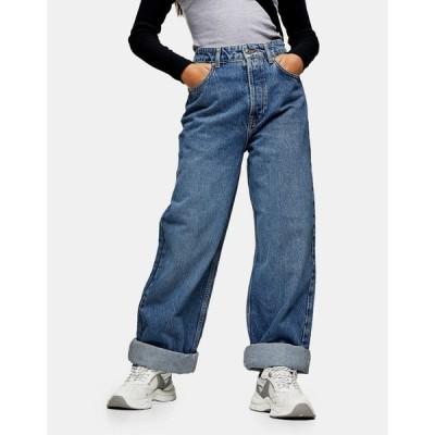 トップショップ Topshop Petite レディース ジーンズ・デニム ボトムス・パンツ oversized Mom jeans in mid blue デニム