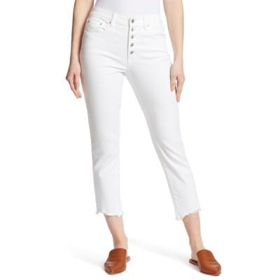 エラモス レディース デニムパンツ ボトムス High Rise Slim Fit Straight Leg Jeans WHITE