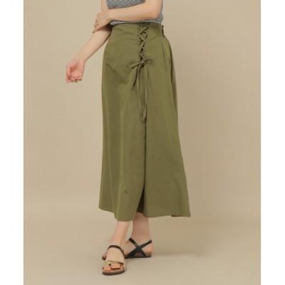 【イッカ/ikka】 ノルマンディリネンレースアップスカート