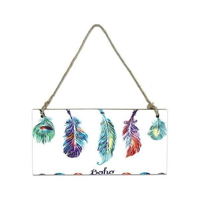PartyShow Wooden Hanging Board, Hand Drawn Colorful Feathers Hanging Vintag