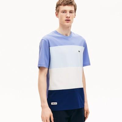 ラコステ LACOSTE リラックスフィット フレッシュカラーブロッククルーネックTシャツ (ブルー)