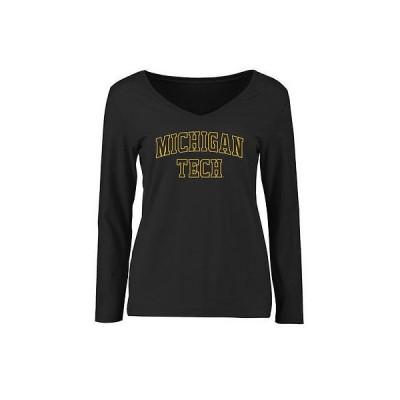 ファナティックスブランディッド カレッジ スポーツ NCAA アメリカ USA 大学 Michigan Tech Huskies レディース ブラック Everyday スリム Fit 長袖 Tシャツ