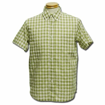 Gingham Check Shirts ウグイス one by one clothing