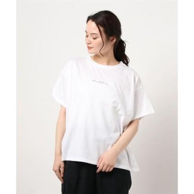 tシャツ Tシャツ 筆記体プリントTシャツ