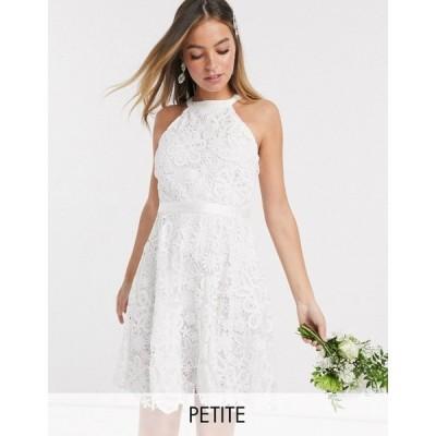 ワイ エー エス Y.A.S Petite レディース ワンピース ウェディングドレス ミニ丈 ワンピース・ドレス wedding mini dress in white lace スターホワイト