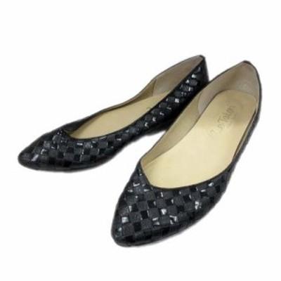 【中古】ルタロン Le Talon 編み込みレザー パンプス シューズ 靴 フラッグチェック 市松模様 23.5cm 黒 レディース