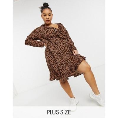 ユアーズ レディース ワンピース トップス Yours Exclusive long sleeve mini wrap dress in brown animal print