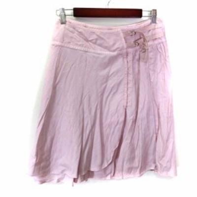 【中古】ローズバッド ROSE BUD フレアスカート ラップ ひざ丈 ピンク /YI レディース