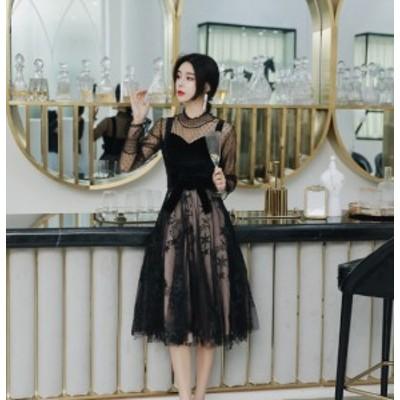 パーティードレス 長袖 レース ミモレ 総レース ドレス 総レースドレス 結婚式のドレス 結婚式のお呼ばれ30代 パーティドレス 黒  黒 ワ