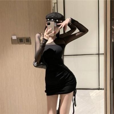【ワンピース】スリム セクシー 長袖 ワンショルダー タイト ミニ丈 細見せワンピ 女子会 お出かけ シフォン ブラック