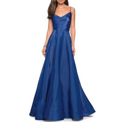 ラフェム レディース ワンピース トップス V-Neck Ruched-Bodice Sleeveless Chiffon Gown
