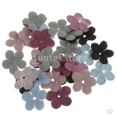 ノーブランド品  DIY クラフト ベルベット 生地 アップリケ スクラップブック作り 花の形 装飾用 60個