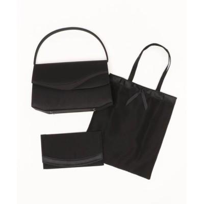 バッグ ハンドバッグ 【喪服用】グログラン切替デザインブラックフォーマルバッグ・サブバッグ・袱紗3点セット