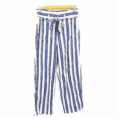 【中古】マリンフランセーズ LA MARINE FRANCAISE パンツ ワイド ストライプ リボン 麻混 リネン混 1 青 ブルー