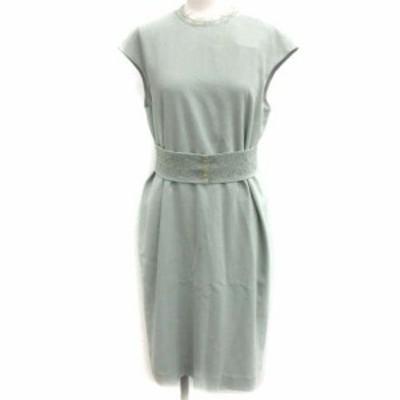 【中古】未使用品 エポカ EPOCA 20SS 38 M ストレッチクロスサックドレス ワンピース フレンチスリーブ 緑 レディース