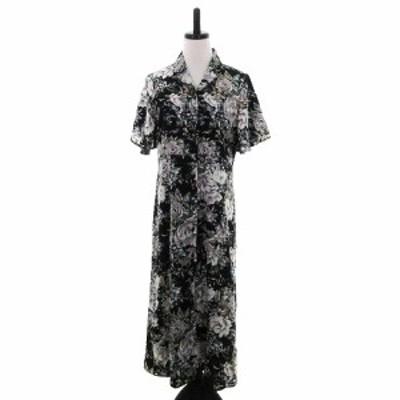 【中古】未使用品 ビス ViS ワンピース シャツワンピ ロング 半袖 オープンカラー 花柄 F 黒 緑 レディース