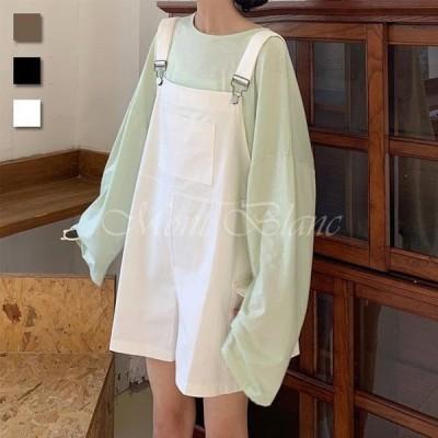 サロペットパンツ レディース ショートパンツ サロペット 体型カバー ゆったり オーバーオール 夏 短パン オールインワン サマーパンツ