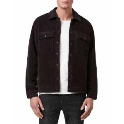 オールセインツ メンズ シャツ トップス Castleford Corduroy Relaxed Fit Overshirt Black