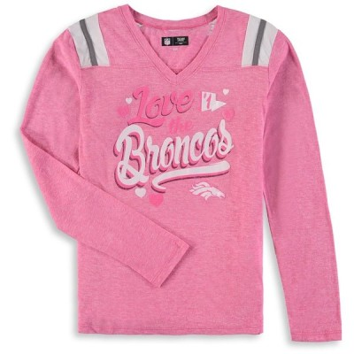 デンバー・ブロンコス New Era Girls Youth Love for My Team Long Sleeve Tri-Blend V-Neck T-シャツ - Pink