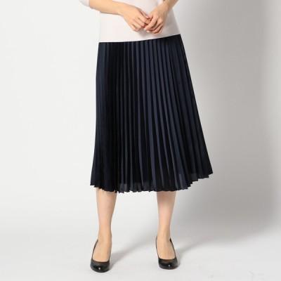GALLORIA レディース 【在庫限り】サテンプリーツスカート 紺 M