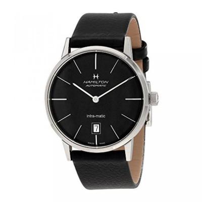 ハミルトン 腕時計 メンズウォッチ Hamilton Intra-Matic Black Dial Leather Mens Watch H38455731
