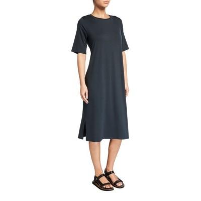 エイリーンフィッシャー レディース ワンピース トップス Round-Neck Jersey Dress with Side Slits