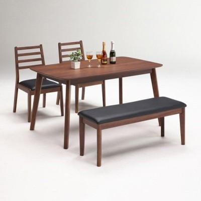 ダイニングテーブルセット 4点セット ダイニングテーブル 4人掛け ウォールナット突板 ラバーウッド無垢材 ダイニングセット 代引不可