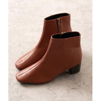 ブーツ 細身 スクエアトゥ 5cmヒールブーツ