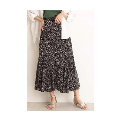 エヌナチュラルビューティーベーシック* スカート アートプリントペプラムAラインスカート レディース 166-0120471 ブラックベース