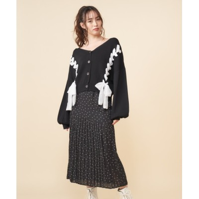 【ミーア】 ハート柄スカート レディース ブラック F MIIA