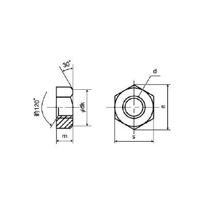 黄銅/生地 六角ナット 1種 切削加工 (旧JIS規格) M3 (10個)