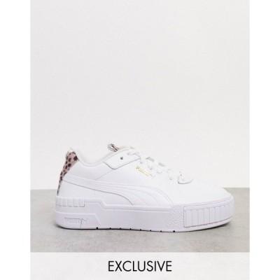 プーマ レディース スニーカー シューズ Puma Cali Sport sneakers in white with cheetah detail - exclusive to ASOS Puma white- cheetah
