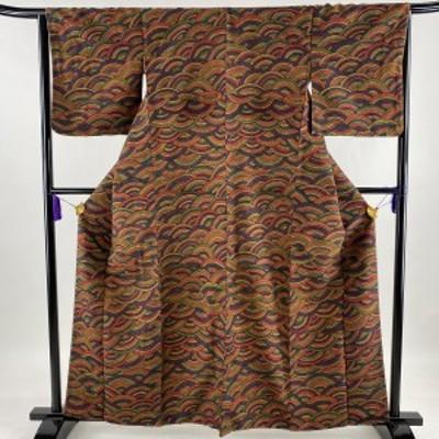 小紋 美品 秀品 証紙 結城紬地 波 青海波 赤紫 袷 161cm 63cm S 正絹 中古