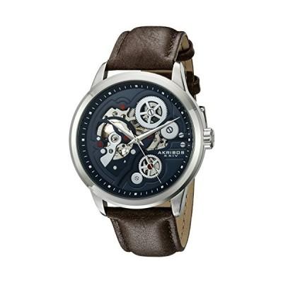 Akribos XXIV Men's Skeleton Watch - Mechanical Automatic Movement On Genuine Leather Strap Watch - AK855 並行輸入品