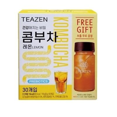 [TEAZEN ]コンブチャ レモン味 5g * 30個+ ボトルを含む