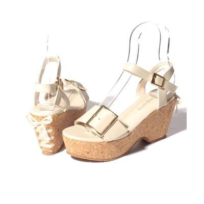 (Shoes in Closet/シュークロ)ビックバックル ヒールリボン 厚底ウェッジサンダル/レディース ライトベージュ
