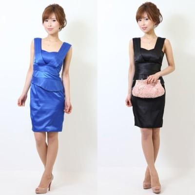 Vラインシンプルタイトショートドレス ブラック ブルー 結婚式/ワンピース/二次会/パーティードレス