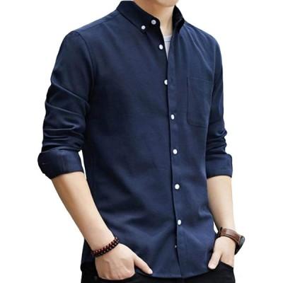 SSHYDT シャツ メンズ 長袖 オックスフォードシャツ 無地 綿 ビジネス カジュアル 大きいサイズ (M, ネイビー)