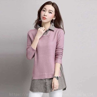 レディーストップスニットロングセーター重ね着風長袖無地ピンクブラックネイビーキャメルワインレッドフリーサイズ