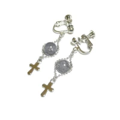 タンザナイトと十字架のイヤリング