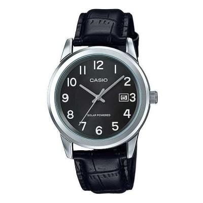 腕時計 カシオ Casio MTP-VS01L-1B1 メンズ スタンダード ソーラー レザー バンド ブラック ダイヤル デート 腕時計